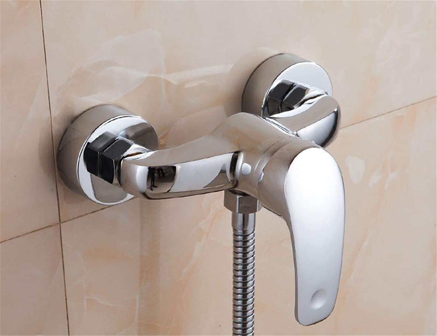 Guolaoer Faucet Wall-Mounted Simple Shower Head Concealed Shower Set???Silver White