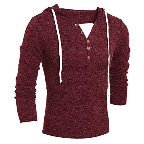 Loeay Sudadera con Capucha para Hombre Jerseys Slim Fit Suéter de Manga Larga de Punto Botones Jersey Nuevo diseño de Moda Suéter con Capucha sólido Prendas de Punto Vino Rojo M