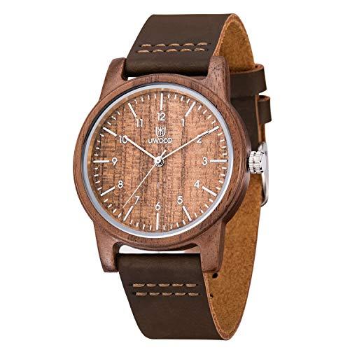 Reloj Madera Hombre, MUJUZE Natural De Madera Del Reloj De Cuero Reloj Único Texturas Regalos De Aniversario(Nogal)