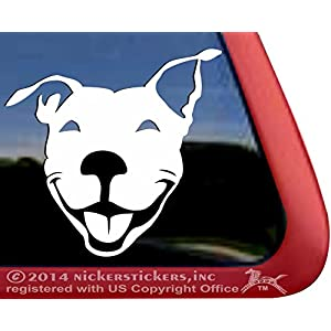 Smiling American Pit Bull Terrier Dog Rescue Car Truck Window Decal Sticker 7