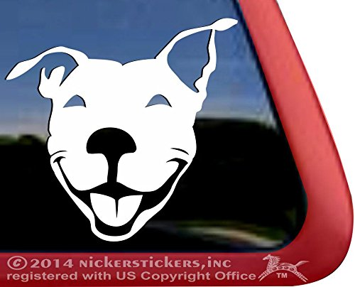 Smiling American Pit Bull Terrier Dog Rescue Car Truck Window Decal Sticker 1