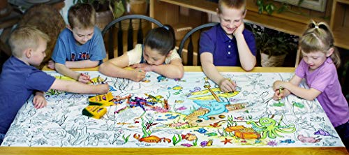 Smells Like Crayons Giant Wall Size, 5ft Coloring Page, Jungle Fun Color Me Cartoons for Kids and Adults, Family Gatherings, Quality time, Creative Learning 60'x30' (Undersea Adventure)