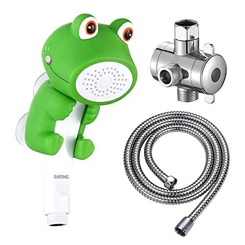KAIYING Children's Handheld Shower Head,Cartoon Water Flow Spray Shower Head Baby Kids Toddler Bath Play Bathing Toys (J:Showerhead(Froggie)+Hose+Diverter)