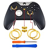 eXtremeRate Matte Chrome Gold Accent Rings Accessories for Xbox One Elite, Elite Series 2 Controller, Replacement Parts Profile Switch Buttons for Xbox One Elite Controller - Pack of 2