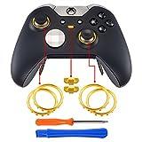 eXtremeRate 2 Paquetes de Anillos de Joysticks Botón de Interruptor de Perfil Accesorios Repueatos para Mando de Xbox One Elite Oro Cromo Mate