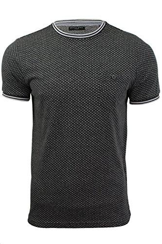Herren T-Shirt mit Jaquardmuster und Rundhalsausschnitt von Brave Soul (Mid Charcoal) M