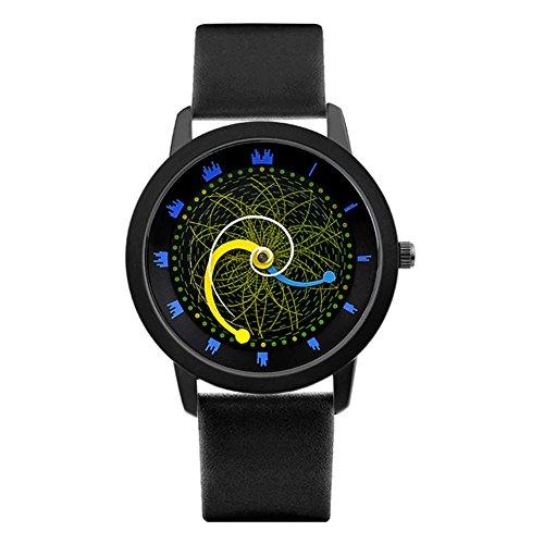 Quartz Uhr,Personalisieren Sterne schiene Vortex Konzept-Abschnitt Plattenspieler Pin Buckle Armband Schwarze Armbanduhr Nachhaltige-A