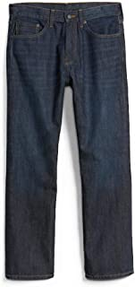 GAP Men's Jeans in Relaxed Fit, Dark Resin Wash, Non-Stretch Cotton