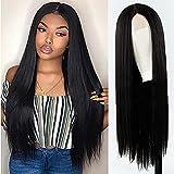 HTDYLHH Hermosas pelucas, Pelucas delanteras de encaje de las señoras, pelucas de pelo largas y largas negras, productos de pelo recto natural de las señoras pelucas frontales de encaje, pelucas larga