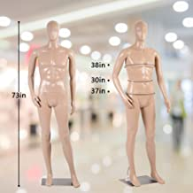 Male Mannequin Full Body 73 Inch Adjustable Mannequin Stand Realistic Manikin Dress Form with Metal Base,Dressmakers Wearing Sewing Plastic Detachable Pinnable Dummy,Display Head Turns Dress Model