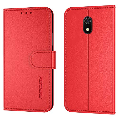 FMPCUON Handyhülle Kompatibel mit Xiaomi Redmi 8A(Neueste),Premium Leder Flip Schutzhülle Tasche Hülle Brieftasche Etui Hülle für Xiaomi Redmi 8A(6,22 Zoll),Rot