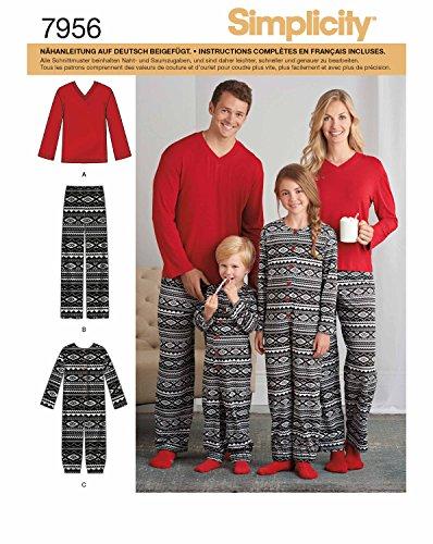 Simplicity 7956.A Schnittmuster Pyjama (Unisex, Gr. XS - XL)