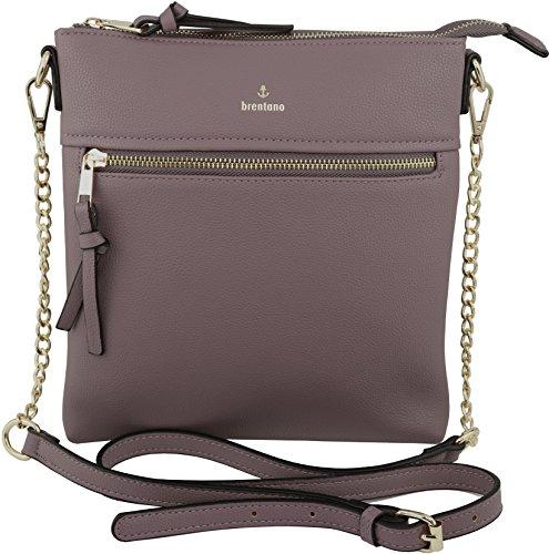 Vegan Double-Zipper Crossbody Bag with Chain Strap (Purple)