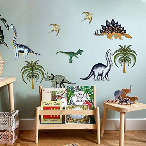 decalmile Wandtattoo Dinosaurier Wandaufkleber Dschungeltiere Palme Wandsticker Kinderzimmer Jungen Babyzimmer Spielzimmer Wanddeko