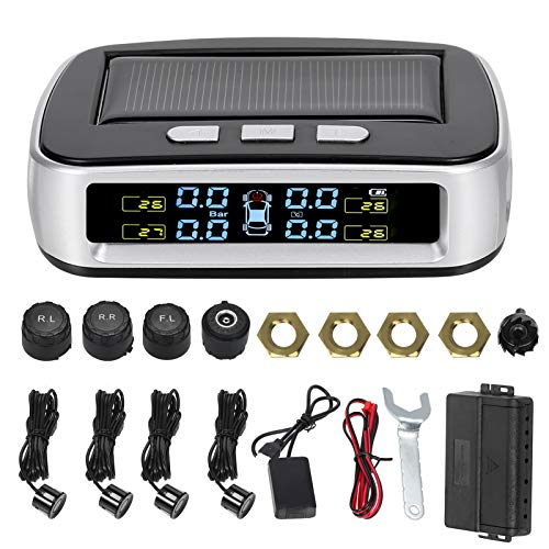 KKmoon Solar Tire Pressure Monitoring System, 2 in 1 Car Reverse Backup Radar System and Wireless TPMS with 4 Parking Sensors+4 External Sensors+ LED Display +Sound Warning