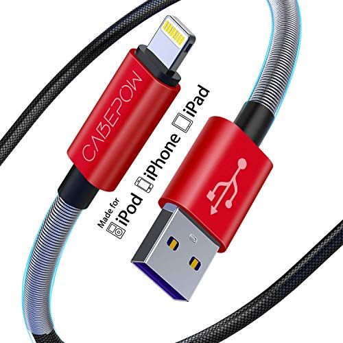iPhone Ladekabel 7 Zoll fur Apple MFi zertifiziert Cabepow Cose 3 ft Lightning Kabel Schnellladekabel 3 Fus fur iPhone 1111 Pro 11 Pro MaxXSXS MaxXRX88 Plus765SE 2 Pack Rot