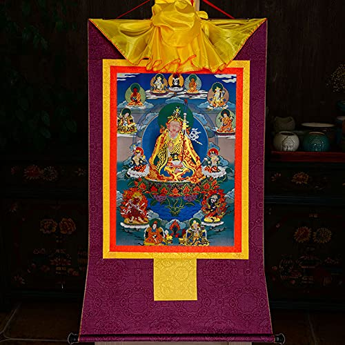 Gandhanra Tapiz budista tántrica tibetana para colgar en la pared, gurú Rinpoche, Lotus Born, estampado en caliente, para decoración del hogar Zen (morado, pequeño (35 x 27 cm)