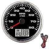 EBTOOLS Tacómetro para barco, tacómetro de puntero marino de 85 mm, 8000 RPM, medidor de horas de luz de fondo de 8 colores para barco de motor de coche de 12 V/24 V