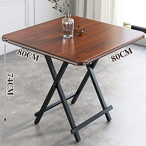 LIUXING Mahjong Spieltisch Tragbares Klapptisch Tragbare Platz Folding Esstisch Haushalts Esstisch Platz Tabelle Mahjong Tabelle (Farbe : Braun, Größe : 80X80X74cm)