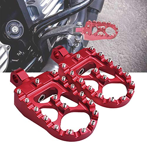 Footpegs Motorcycle Wide Foot Pegs CNC Aluminum 360°Roating Adjustable Suitable for Harley Davidson Dyna Fatboy Iron 883 Sportster 883 (Red)