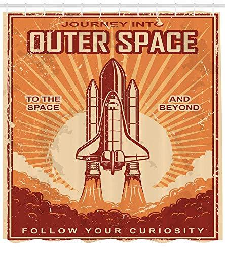 Soefipok Vintage Decor Collection, Vintage Space Suttle auf Grunge zerkratzt Planet Erde Karte Sterne Cosmos Galaxy Decor, Polyester-Stoff-Badezimmer-Duschvorhang, rot-orange