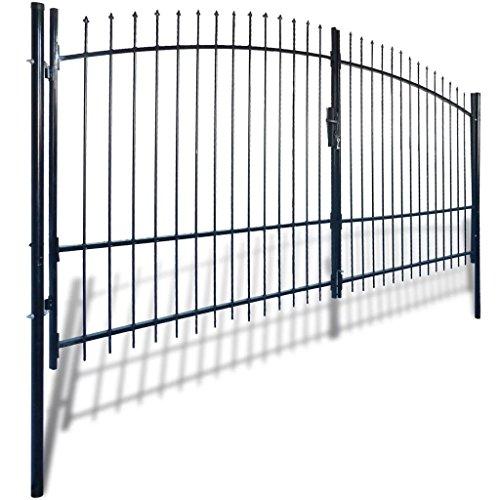 Dubbele deur hekpoort met speertop 400 x 225 cm Hardware hekwerk & barrières poorten