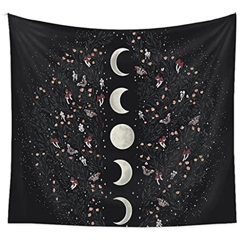 Bingxue Moonligt Garden Stars Moon - Tapiz de flores para dormitorio, sofá o silla, para casa de adolescentes, campanillas de viento, QY045-2 (73 x 95 cm)