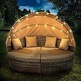 BRAST Poly Rattan Sonneninsel Braun/Cappuccino Ø210cm incl. Abdeckung + LEDs Garten Liege Insel Gartenmöbel Lounge Sitzgruppe 3 Farben