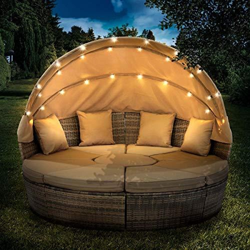 BRAST Canapé de Jardin Exterieur en resine Canapé de Jardin Rond en rotin tressé en Marron/cappuchino 210cm avec LED+Housse, auvent Pliable modulable Table réglable en Hauteur