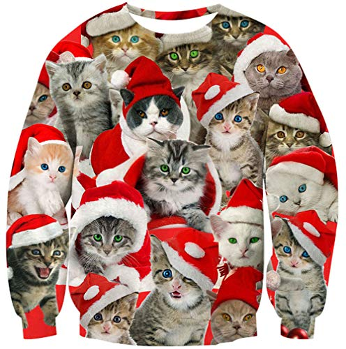 Goodstoworld Funny Christmas Cat Sweater Family Youth Teen Ugly Sweatshirt Party Unique Pullover Jumper Vacation Ugliest Cute Lady T Shirts Cats Tops Apparel Size XL