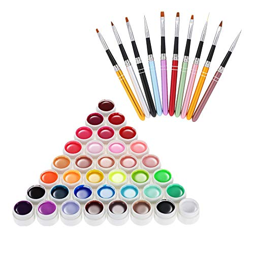 Anself 36 Colors Gel Polish Set & 10pcs Acrylic Nail Brushes, Pigment UV Gel Set and Nail Art Pen Liner for UV Gel Drawing Decoration Kit