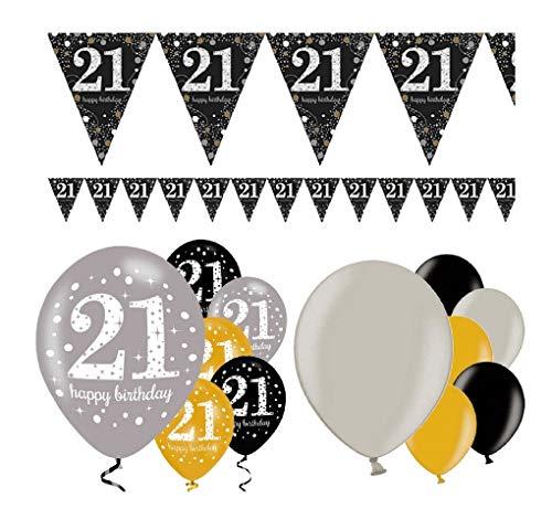 Feestelijke feesten verjaardagsdecoratie 21e verjaardag | 13 delen decoratieset luchtballon wimpel slinger banner goud zwart zilver metallic party Happy Birthday 21