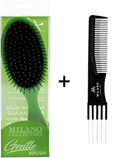 Milano Collection Gentle Detangling Styling Brush For Wet or Dry Hair PLUS Free Teasing Comb- Lime Green