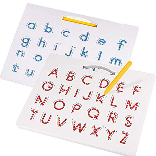 SuperLi Magnetic Alphabet Letter Tracing Board - STEM Educational Learning ABC Letters Kids Drawing Board with Stylus Pens- Best Gift for Boys and Girls (2 in 1)