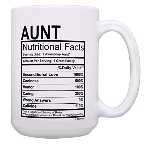 Aunt Gifts for Women Aunt Nutritional Facts Funny Aunt Gifts Aunt Nephew Gifts Gift 15-oz Coffee Mug Tea Cup 15oz White