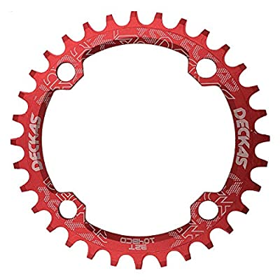 DECKAS Round Oval 104BCD 32T 34T 36T 38T Narrow Wide Chainring Single Chainring for 8/9/10/11-Speed (Round Red, 34T)