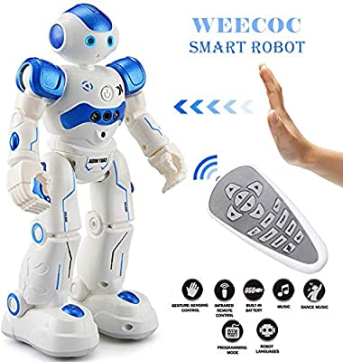 WEECOC Smart Robot Toys Gesture Control Remote Control Robot Kids Toys Birthday Can Singing Dancing Speaking Two Walking Models (White)