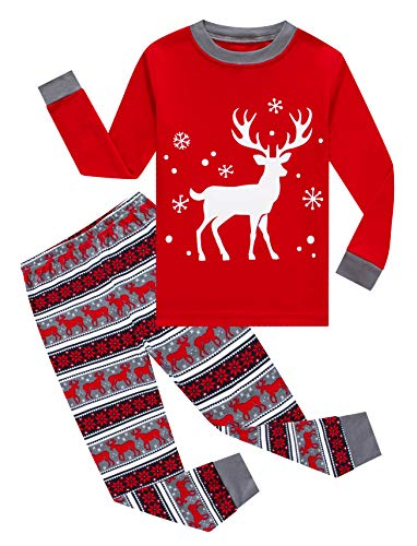 KikizYe Little Girls Boys Long Sleeve Christmas Pajamas Sets 100% Cotton Red Holiday Pyjamas Toddler Kids Pjs Size 5 Reindeer