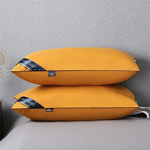 YRWL - Confezione da 2 cuscini per dormire, in fibra di peluche di alta qualità, con rivestimento traspirante rimovibile, delicato sulla pelle, colore giallo, due pezzi, 4874 cm