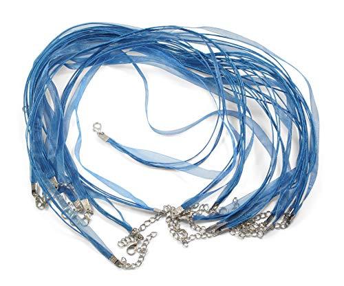 ❤️HobbyHerz 10 STK. Halskette, Halsband, Choker, Organza-Kette mit Wax-Cord als Set | Seidenband ✪ Schmuckband | Ketten selber Machen | mit Karabiner-Verschluss, 45cm lang | Farbe: Blau