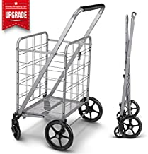 Newly Released Grocery Utility Flat Folding Shopping Cartwith 360° Rolling Swivel Wheels Heavy Duty & Light Weight Extra Large Utility Cart