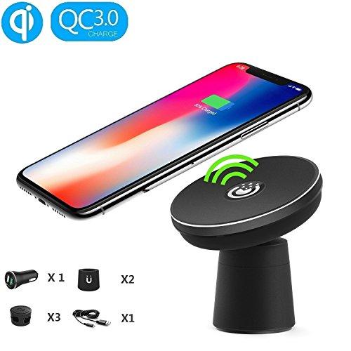 EooCoo Fast Wireless Charger Drahtlose Induktive, USB Kfz Ladegerätr, Nano Adsorption kabelloses Ladegerät für Samsung S9 / S8 / S8+ / S7 / S6 / Edge, iPhone X / 8 und alle Qi Fähige Geräte