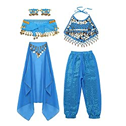 Light Blue Sequins Belly Dance Dress Outfits