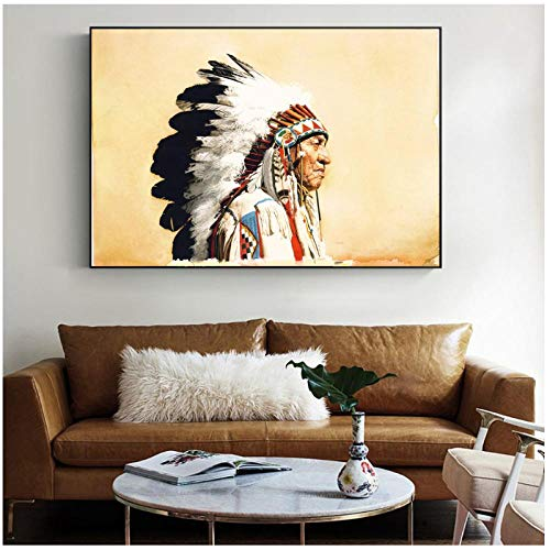 HDKSA Native Indian Woman Vintage Poster und Drucke Featherd Indian Woman Pop Art Leinwanddrucke Cuadros Bilder für Wohnzimmer Wand-50 * 70cm ungerahmt