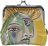 De Li Sheng Carteras Abstract Painting Lady Women Buckle Lock Leather Change Purses