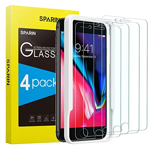 SPARIN [4-Pack Protector Pantalla iPhone 8 Plus/iPhone 7 Plus, Cristal Templado iPhone 8 Plus/iPhone 7 Plus, Vidrio Templado [Sin Cobertura Toda Pantalla] [9H Dureza] [Alta Definicion]