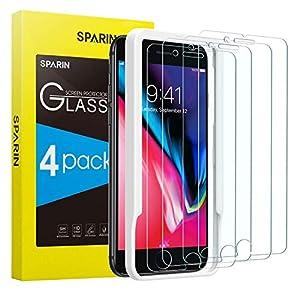 SPARIN [4-Pack Protector Pantalla iPhone 8 Plus/iPhone 7 Plus, Cristal Templado iPhone 8 Plus/iPhone 7 Plus, Vidrio Templado [Sin Cobertura Toda Pantalla] [9H Dureza] [Alta Definicion]