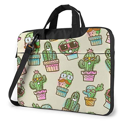 zhengdong Funny Cactus Cute Succulent Cartoon Laptop Case 14 Inch Computer Carrying Protective Case with Strap Bag