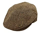 Flat Cap for Men Made in Ireland Irish Hat Flat Cap 100% Irish Wool Brown L