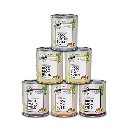 naftie Bio Hundefutter Reinfleischdosen Mischpakete | 100% Reinfleisch pur Spar-Pakete | Nassfutter zum Mischen, auch als Barf-Fleisch | Glutenfrei | Getreidefrei | 6 x 800 g Dosen